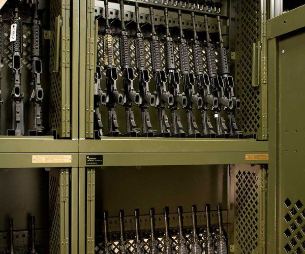 universal weapons rack in military base