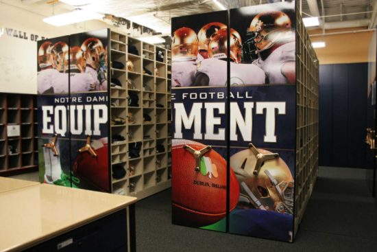 notre dame equipement storage on mobile shelving