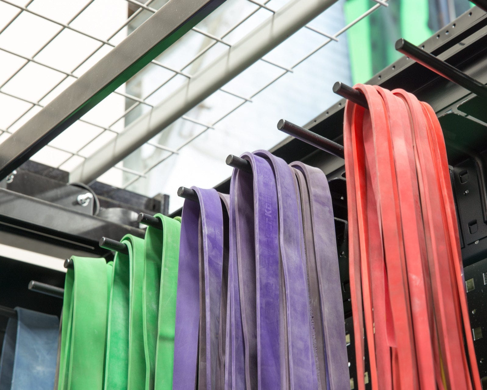 resistance bands in athletic storage equipment room