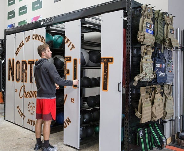 levpro systems in athletic storage room