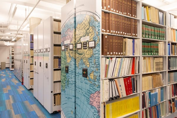 NU Map library high density shelving