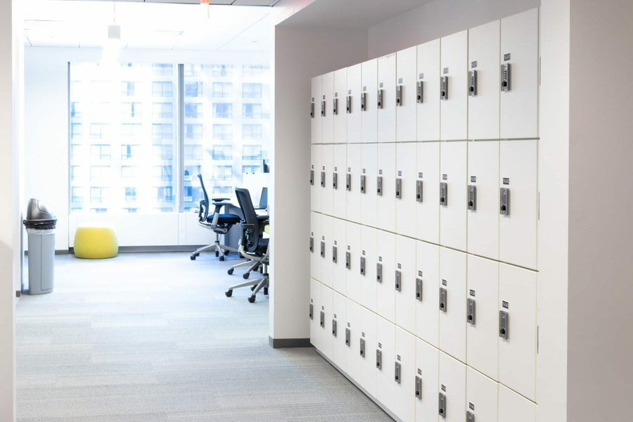 day use lockers in an office