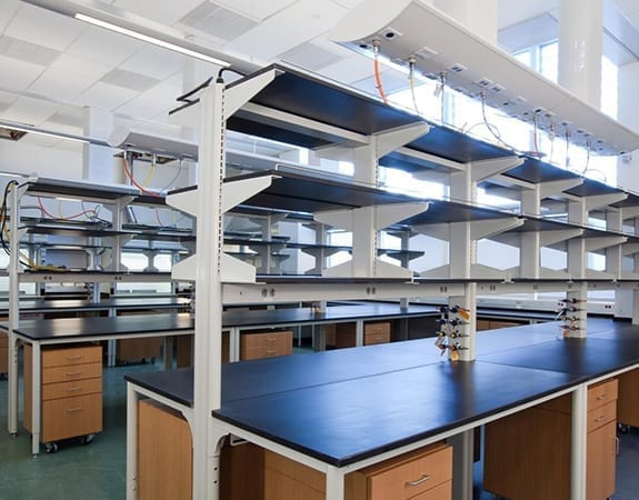 laboratory with shelving casework