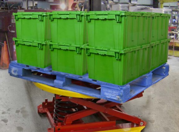 Pallet Positioner Lift with Crates