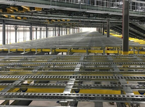 Flow Racking Assembly with Overhead Walkway