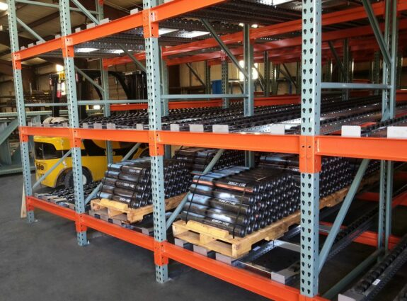 Push Back Flow Racking with Pallets Loaded